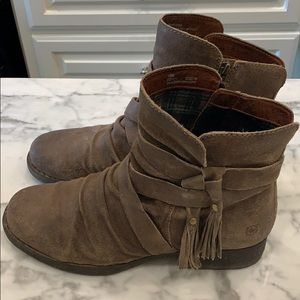 Tan suede Born boots size 10